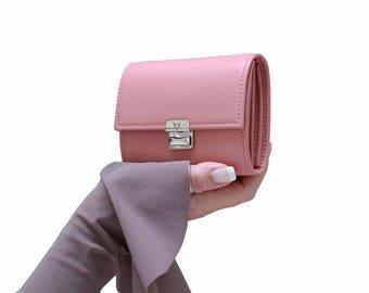 dusty rose leather wallet, small women wallet, women leather wallet, cute wallet for women, unique wallet, accordion wallet, wallet clutch