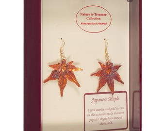 Real Japanese Maple Leaves Dipped In Iridescent Copper - French Hook Earrings - Iridescent Copper Electroplated - Boxed