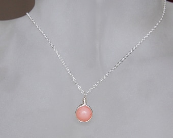 Light Pink Necklace , Bridesmaid Necklace , Pink Mashan Jade Necklace , Pink Silver Necklace