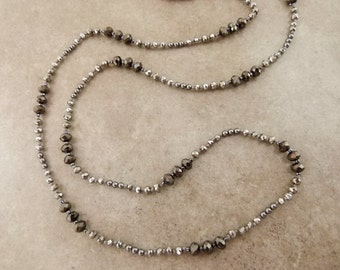 "Sparkly Hand Knotted Bead Necklace - Long Layering Necklace ""Mirror Mirror"" Silver & Hematite Colored - Item 1511"