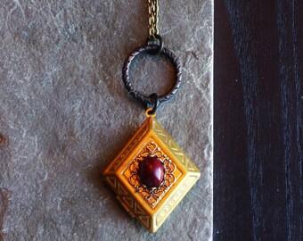 Art deco locket, brass diamond locket necklace, dark brass locket, long necklace, holiday gift ideas, gift for mom, unique Christmas gift