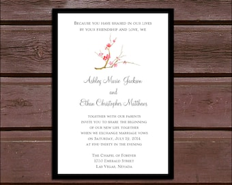 100 Cherry Blossom Wedding Invitations, RSVP's, Reception Insert w/ FREE Calendar Stickers