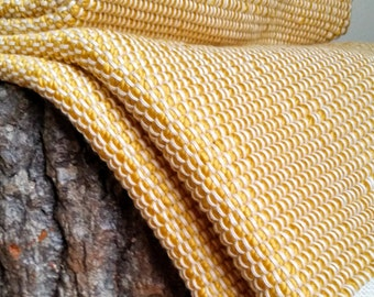 Large woven blanket - mustard gold