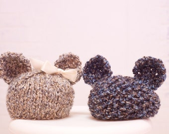 Teddy Bear Beanie With/Without Bow Made to Order