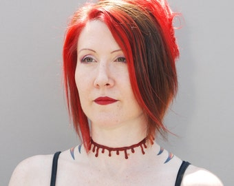 Blood Drip choker necklace -Macabre dark red