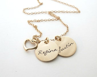 Personalized Gold Necklace - Heart Necklace - Custom Name Necklace - Mothers - Kids Names - Grandma - Nana - Engrave - Personalized Jewelry