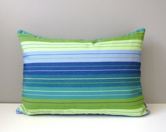 SALE - Decorative Blue & Green Striped Pillow Cover, Modern Outdoor Pillow Cover, Royal Blue Lime Green Stripes, Sunbrella Cushion Cover