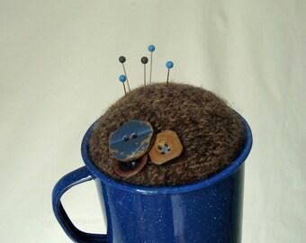 Pincushion Woodsy Brown Blue Enamelware Mug Wood Buttons Handmade OOAK