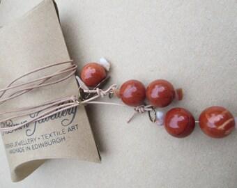 Gemstone Lariat, Gemstone Y Necklace, Red Jasper Y Necklace, Jasper Lariat, Handmade Gemstone Lariat, Edinburgh Jewellery Designer, U.K.