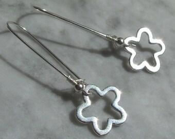 Modern flower earrings silver sterling graphic shiny polished shape botanical charm hang dangle Bali bead drop smooth abstract geometric