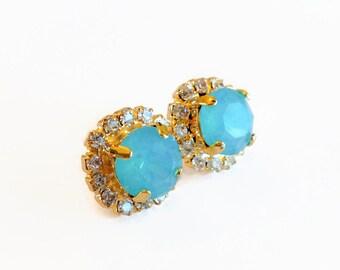Sea Opal Mint Green and Diamond Swarovski Rhinestone Gold Halo Stud Earrings