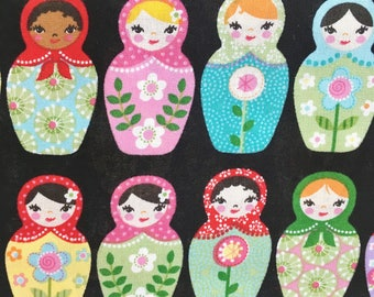 Russian Doll fabric, Matroyshka Doll fabric, Babushka doll fabric. Robert Kaufman, black multi coloured
