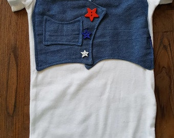 Custom Embroidered Blue Jean Vest Bodysuit, Baby Onesie, Custom Baby Onesie, Personalized Baby Onesie, Bluejean, Babys Got Her Blujeans On