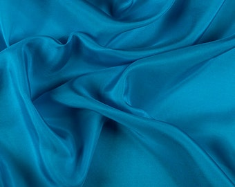 """45"""" Wide 100% Silk Habotai Turquoise-Wholesale by the Yard (2000M146)"""