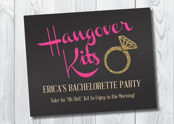Hangover kits printable sign 8x10 bachelorette solutioingenieria Choice Image