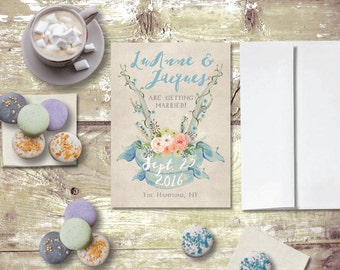 Rustic Save The Date Cards for Rustic Weddings / PRINTED Blue Save-The-Date / Antler Save The Date Card / Antler Weddings / Rustic Antlers