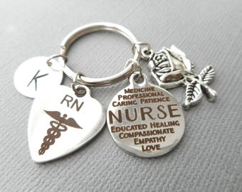 RN Registered Nurse, Nurse/ Rose -Initial Keychain/ college graduation, gift for her, for girls, graduation party ideas, female, medical