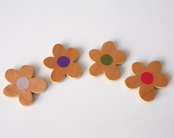 Wooden Fridge Magnet Set Of Four Flowers Plywood Refrigerator Magnets