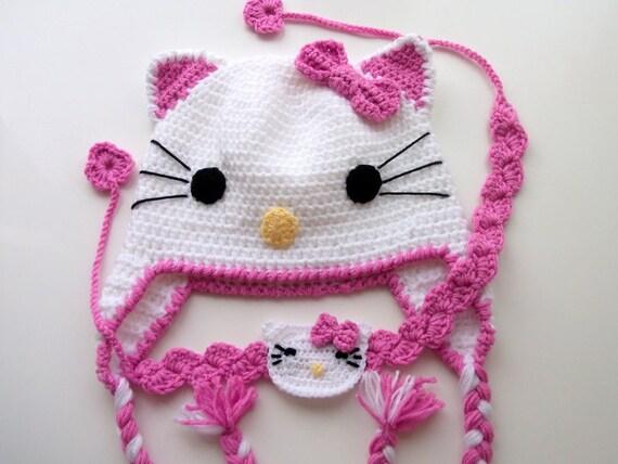 Häkeln Sie Kitty-Mütze und Stirnband Baby-Baby-Mütze für