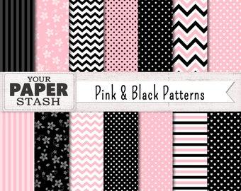 Pink & Black Digital Papers, Decorative Paper, Graphics, Polka Dots, Chevron Stripe, Digital Paper Set, Digital Backgrounds, Valentine's Day