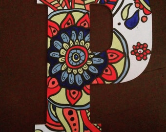 """13 inch letter """"P"""" hand painted"""