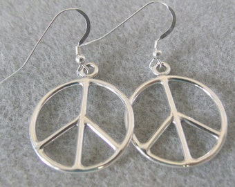 """Sterling Silver """"Peace Signs""""  on Sterling Silver Ear Wires - 2250"""