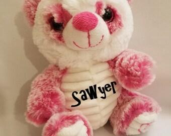 Pink Panda, Stuffed Animal, Personalized
