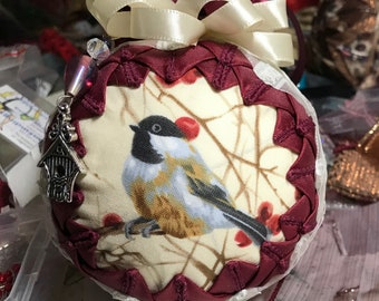 """4"""" Handcrafted Quilted Custom-Made Chickadee Ornament"""