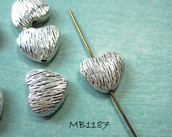 Antique Silver Heart Beads Double Sided Slightly Puffed Design 10x12mm, 1.25 hole MB1187