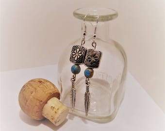 Turquoise, Silver, Beaded, Feather, Dangle, Earring