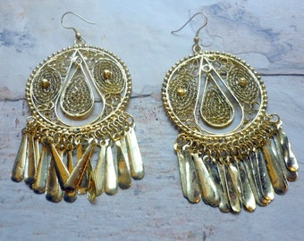 Long Chandelier Earrings, Filigree brass earrings, Long Golden Earrings, Statement Tribal Earrings, Ethnic Earrings, Bollywood Earrings