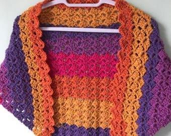 Rainbow Shawl, Crocheted Shawl, Wool Shawl, Acrylic Shawl, Shawl Wrap, Summer Shawl, Bright Shawl Wrap, Colourful Shawl Wrap, Chunky Shawl