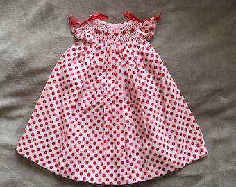 Size 0-6 Months Hand Smocked Baby Girls' Dress  - Red/Orange Polka Dots