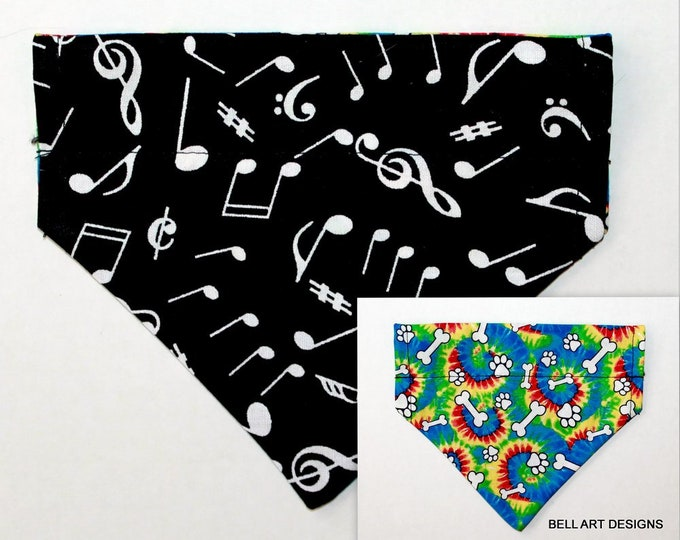 MUSICAL NOTES and Tye Dye ~ Over the Collar ~ Reversible ~ Dog Pet Bandana ~ Bell Art Designs ~ Extra Small ~ DCXS0440