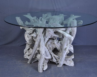 Drftwood dining table base -sun bleached silver gray