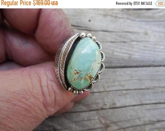 ON SALE Beautiful turquoise ring handmade in sterling silver with natural turquoise from the Apache mine in Nevada