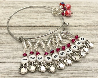 Numbered Owl Stitch Marker Bracelet | Gifts for Knitters | Removable Markers on a Charm Bracelet