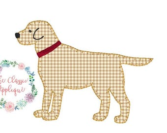 lab dog with collar blanket stitch applique embroidery design