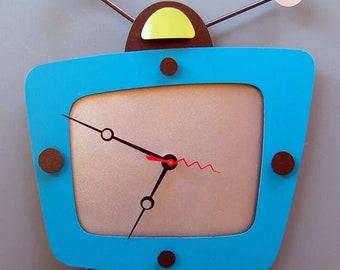 Futuristic modern wooden clock art