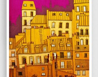 Paris,Montmartre (colored version) - Paris illustration Art illustration Paris art poster Paris decor Living room art Wall decor Pink Yellow