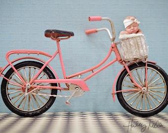 Newborn Girl Pink Vintage Bike Digital Backdrop/Background Photography Prop Instant Download