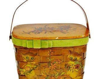 Vintage Woven Wood Decoupage Lidded Basket with Kitten Design