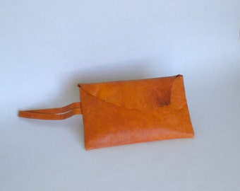 Orange Leather Clutch Bag / Purse for Women / Leather Bag with Wristlet