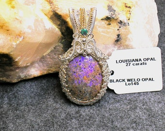 Louisiana Opal (Extremely Rare) Pendant - Black Welo Opal  - Tons of Amazing Fire!!!  (Lo145)