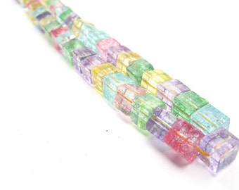 6MM Quartz Gemstone Cube Beads - Various Colors - One Strand - B-6480