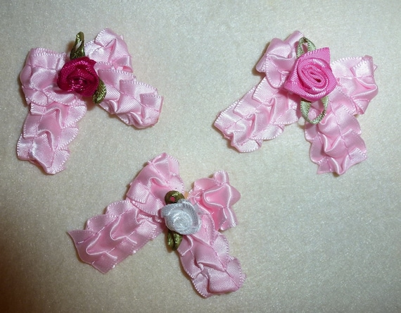 Puppy Bows ~3 girls ruffled pink rose bows EVERYDAY BOWS Yorkie Maltese Shih Tzu ~Usa seller (fb101)