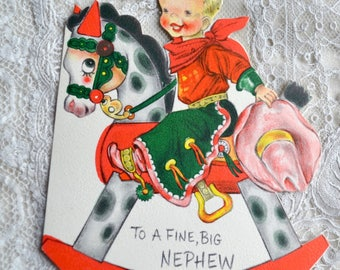 Vintage Christmas Card - Little Cowboy on Rocking Horse and Pink Hat - Used Hallmark to Nephew