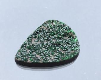 green garnet , uvarovite , cabochon , pendant , from Sarany , Russia