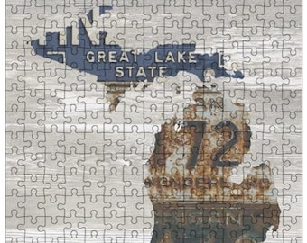 Michigan Jigsaw Puzzle   Vintage License Plate Art   State Outline   Fun Puzzle