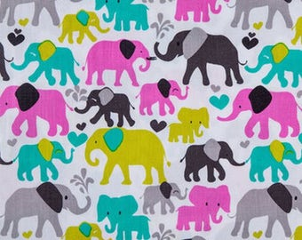 Elephant Fabric by the Yard, Michael Miller Fabric Orchid Elephant Walk, Quilting Fabric, Pink Fabric Cotton Nursery Fabric Gray and White
